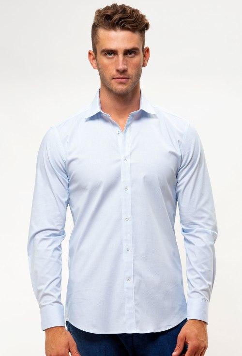 Enlarge  BROOKSFIELD Mens Career Stretch Geo Print Business Shirt BFC1548 BLUE