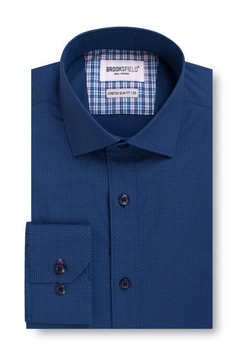 Brooksfield Career Stretch Geo Print Business Shirt BFC1550 colour: NAVY