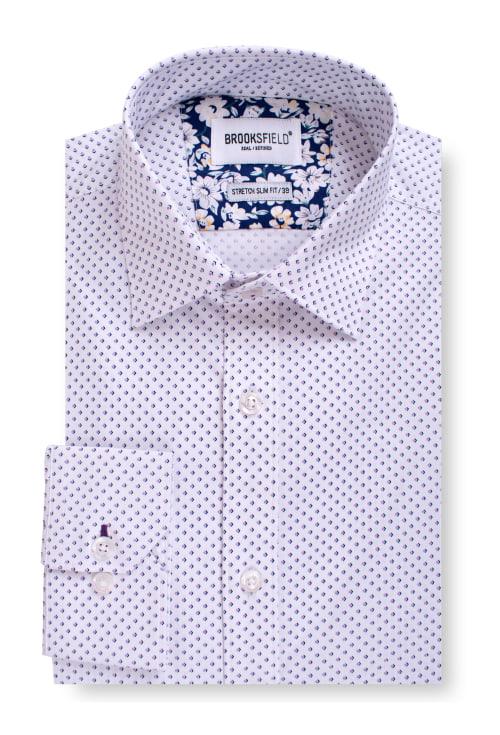 Brooksfield Career Stretch Arrow Dot Print Business Shirt BFC1552 colour: PURPLE