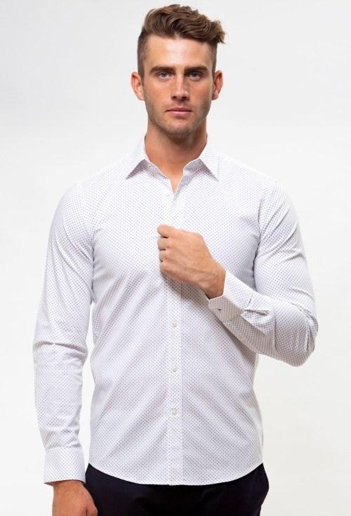 Enlarge  BROOKSFIELD Mens Career Stretch Arrow Dot Print Business Shirt BFC1552 PURPLE