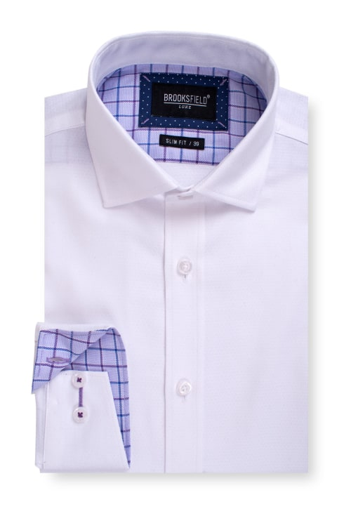 Brooksfield Luxe Textured Diamond Weave Business Shirt BFC1553 colour: WHITE
