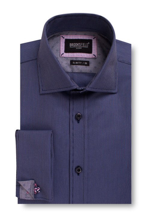 Brooksfield Luxe Textured Dobby Business Shirt BFC1554 colour: NAVY