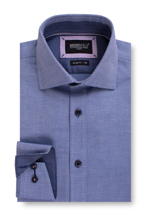 Brooksfield Luxe Three Tone Diamond Dobby Business Shirt BFC1556 colour: NAVY