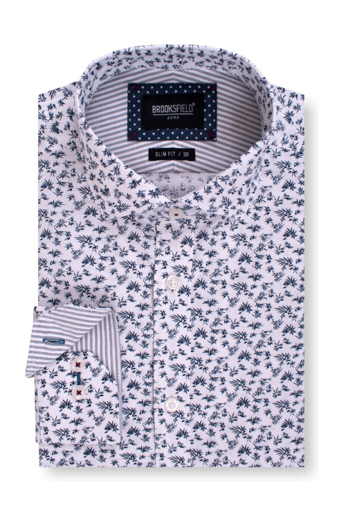 Brooksfield Luxe Leaf Print Oxford Business Shirt BFC1563 colour: WHITE