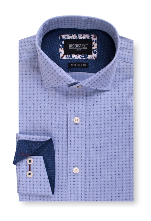 Brooksfield Luxe Textured Diamond Dot Print Business Shirt BFC1564 colour: LIGHT BLUE