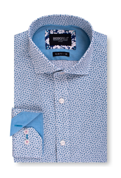 Brooksfield Luxe Slub Abstract Print Business Shirt BFC1567 colour: TEAL