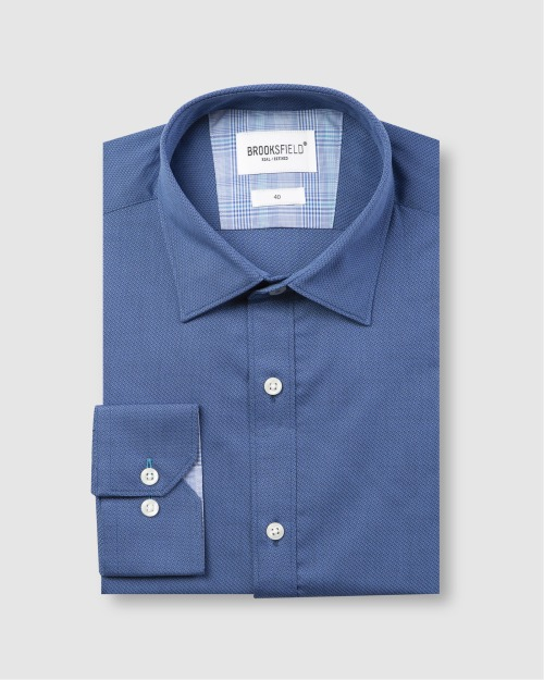 Brooksfield Career Textured Weave Business Shirt BFC1580 colour: NAVY