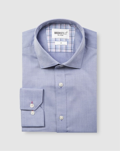 Brooksfield Career Diamond Weave Business Shirt BFC1581 colour: BLUE