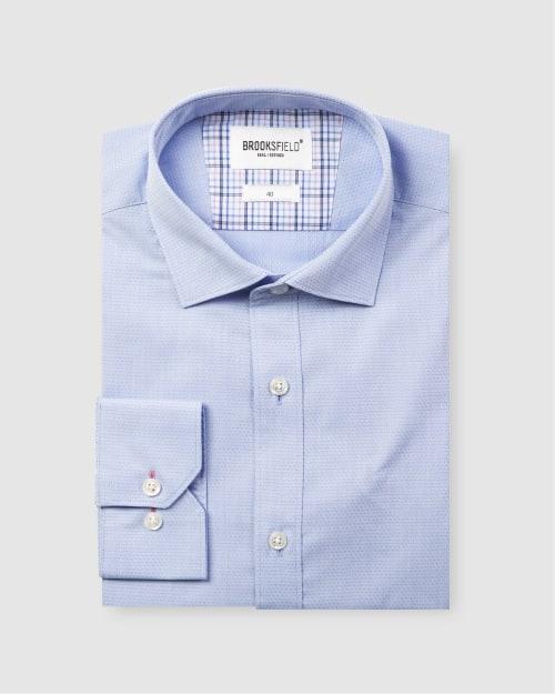 Brooksfield Career Diamond Weave Business Shirt BFC1581 colour: SKYWAY