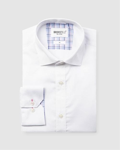 Brooksfield Career Diamond Weave Business Shirt BFC1581 colour: WHITE