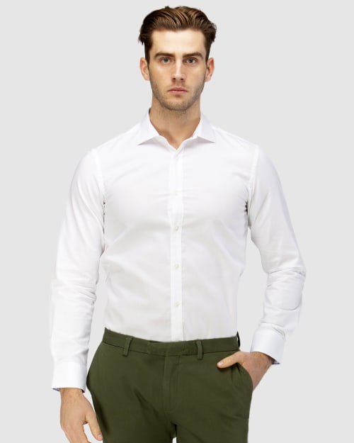 Enlarge  BROOKSFIELD Mens Career Diamond Weave Business Shirt BFC1581 WHITE
