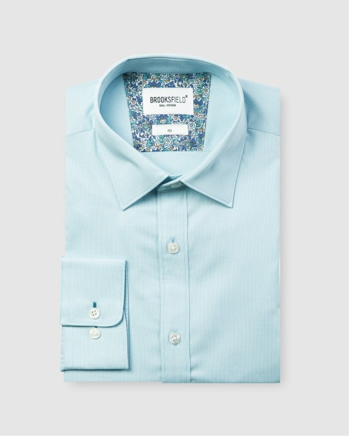 Brooksfield Career Floating Dot Dobby Business Shirt BFC1582 colour: AQUA