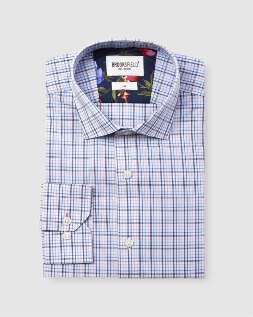 Brooksfield Career Multi Colour Check Business Shirt BFC1583 colour: PINK