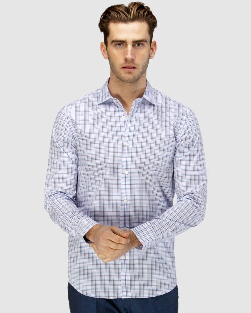 Enlarge  BROOKSFIELD Mens Career Multi Colour Check Business Shirt BFC1583 PINK