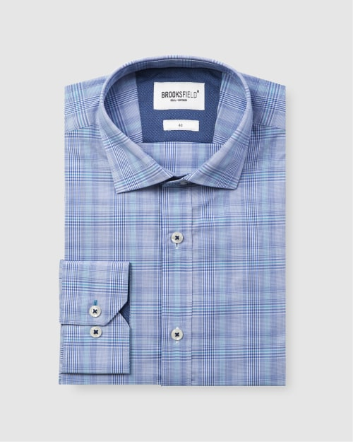 Brooksfield Career Prince of Wales Check Business Shirt BFC1584 colour: AQUA