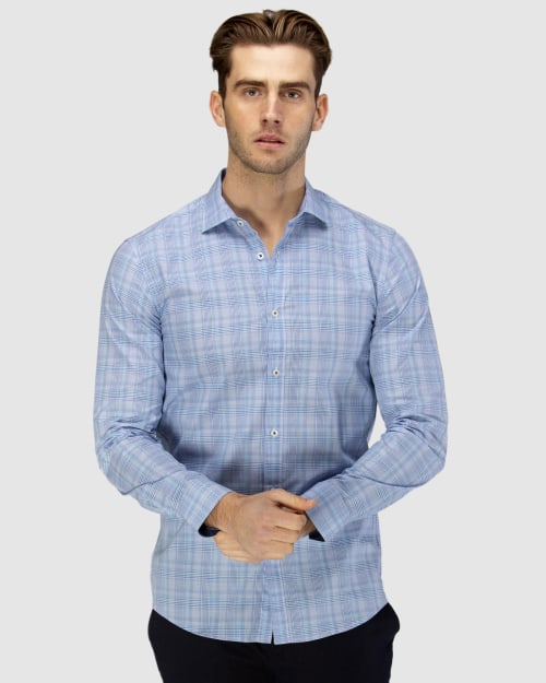 Enlarge  BROOKSFIELD Mens Career Prince of Wales Check Business Shirt BFC1584 AQUA