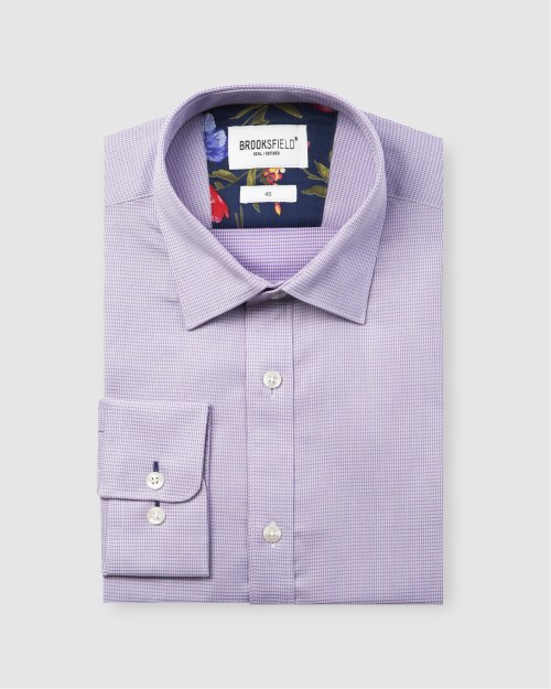 Brooksfield Career Leno Weave Business Shirt BFC1585 colour: LILAC