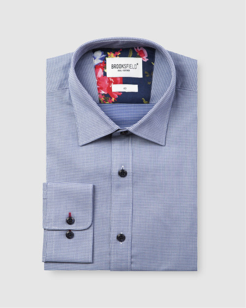 Brooksfield Career Leno Weave Business Shirt BFC1585 colour: NAVY