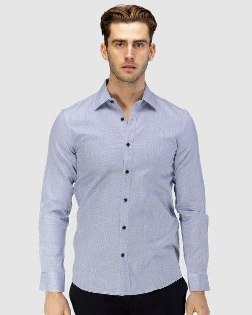 Enlarge  BROOKSFIELD Mens Career Leno Weave Business Shirt BFC1585 NAVY