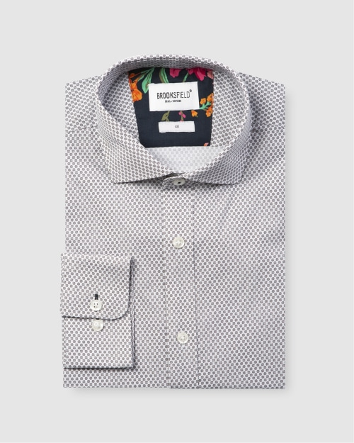 Brooksfield Career Abstract Print Business Shirt BFC1586 colour: WHITE
