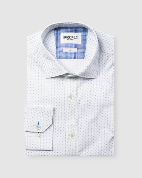 Brooksfield Career Abstract Dot Print Business Shirt BFC1587 colour: BLUE