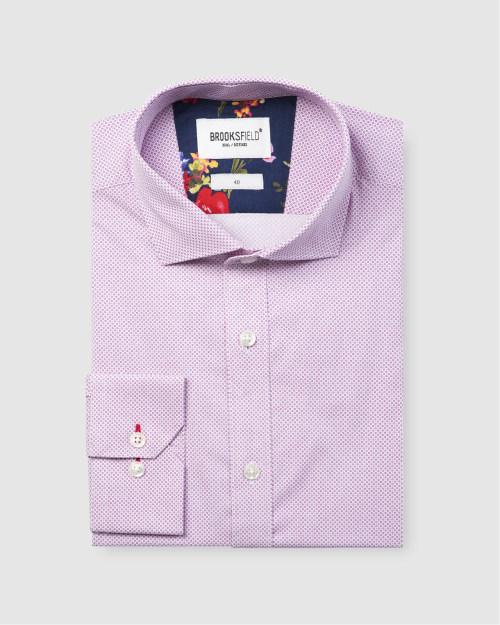 Brooksfield Career Micro Square Print Business Shirt BFC1588 colour: FUSCHIA