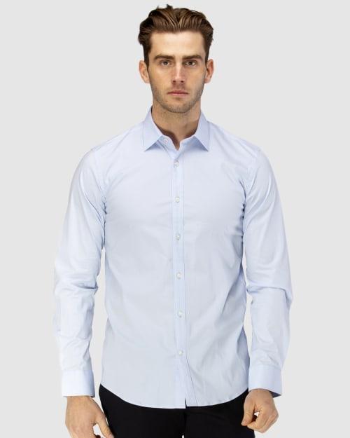 Enlarge  BROOKSFIELD Mens Career Square Print Business Shirt BFC1589 LIGHT BLUE