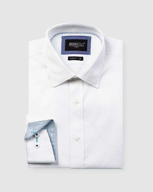 Brooksfield Luxe Honeycomb Weave Business Shirt BFC1594 colour: WHITE
