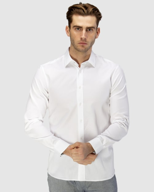 Enlarge  BROOKSFIELD Mens Luxe Honeycomb Weave Business Shirt BFC1594 WHITE