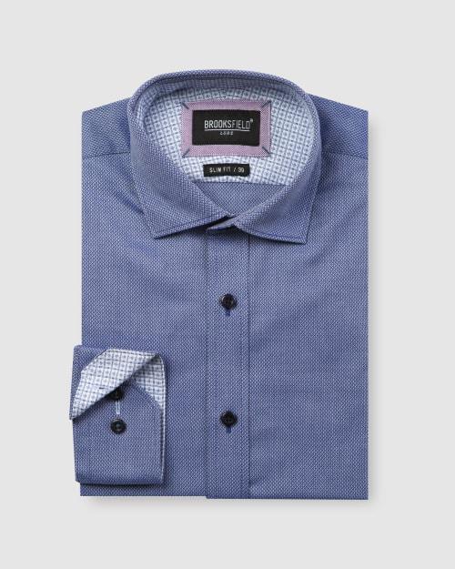 Brooksfield Luxe Diamond Textured Weave Business Shirt BFC1595 colour: NAVY