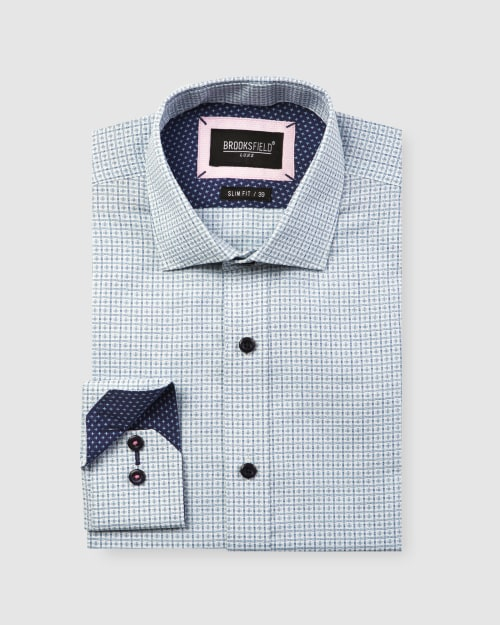Brooksfield Luxe Textured Floating Dobby Weave Shirt BFC1596 colour: AQUA