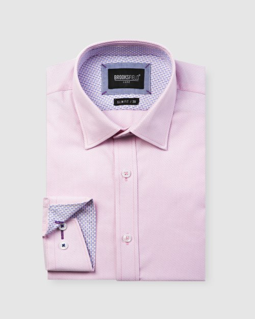 Brooksfield Luxe Two-tone Textured Dobby Business Shirt BFC1597 colour: PINK