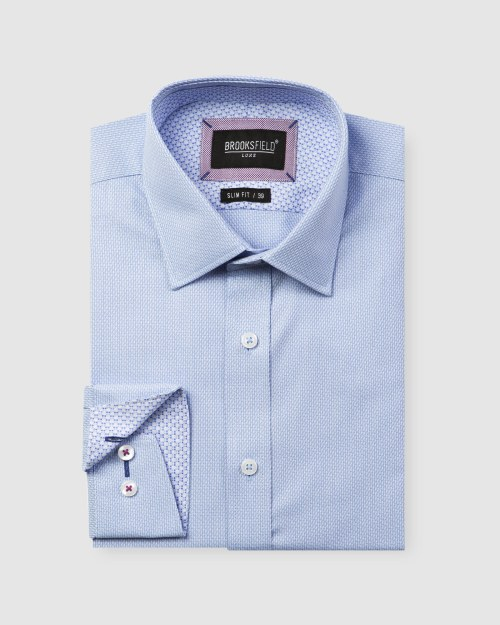 Brooksfield Luxe Two-tone Textured Dobby Business Shirt BFC1597 colour: SKYWAY