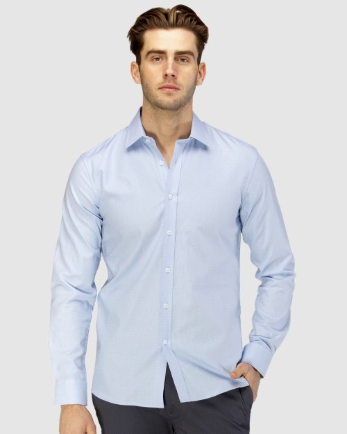 Enlarge  BROOKSFIELD Mens Luxe Two-tone Textured Dobby Business Shirt BFC1597 SKYWAY