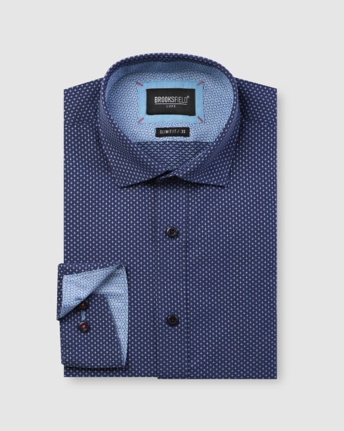 Brooksfield Luxe All-over Cross Dobby Business Shirt BFC1598 colour: NAVY