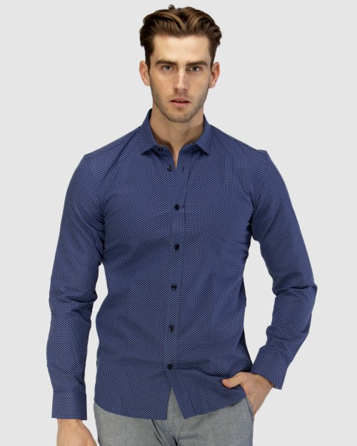 Enlarge  BROOKSFIELD Mens Luxe All-over Cross Dobby Business Shirt BFC1598 NAVY