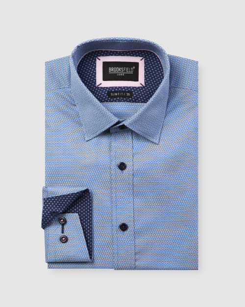 Brooksfield Luxe Three Tone Dobby Weave Business Shirt BFC1599 colour: BLUE