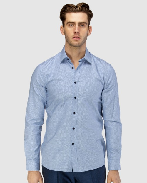 Enlarge  BROOKSFIELD Mens Luxe Three Tone Dobby Weave Business Shirt BFC1599 BLUE
