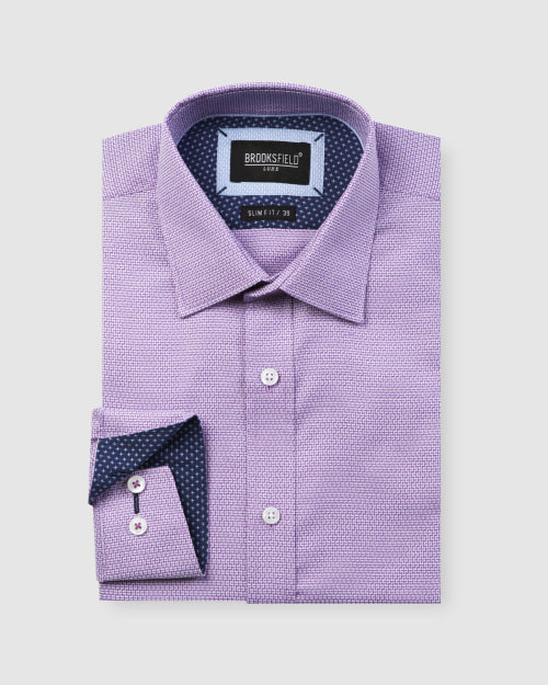 Brooksfield Luxe Three Tone Dobby Weave Business Shirt BFC1599 colour: PURPLE