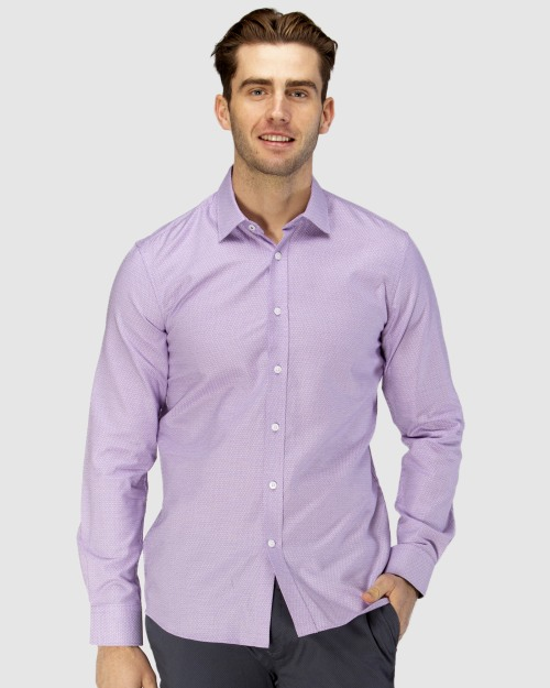 Enlarge  BROOKSFIELD Mens Luxe Three Tone Dobby Weave Business Shirt BFC1599 PURPLE