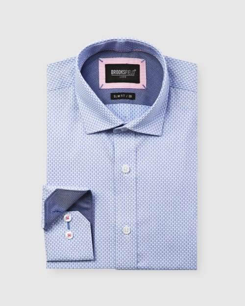 Brooksfield Micro Square Dobby Business Shirt BFC1600 colour: BLUE