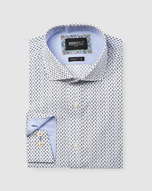 Brooksfield Luxe Leaf Print Slub Business Shirt BFC1601 colour: BLUE
