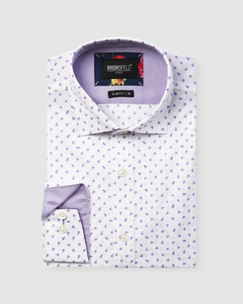 Brooksfield Luxe Scattered Flower Print Business Shirt BFC1602 colour: LILAC