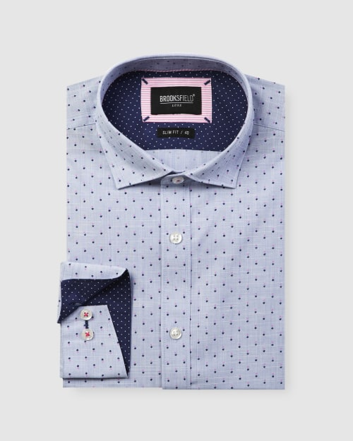 Brooksfield Luxe Flower Print Slub Business Shirt BFC1603 colour: BLUE