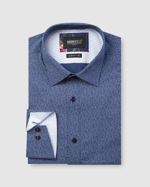 Brooksfield Luxe Dot Paisley Print Slub Business Shirt BFC1604 colour: NAVY