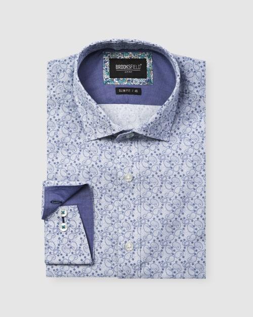 Brooksfield Luxe Paisley Print Slub Business Shirt BFC1605 colour: NAVY