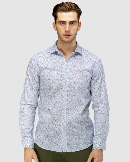 Enlarge  BROOKSFIELD Mens Luxe Paisley Print Slub Business Shirt BFC1605 NAVY