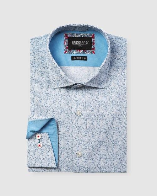 Brooksfield Luxe Paisley Print Slub Business Shirt BFC1605 colour: TEAL