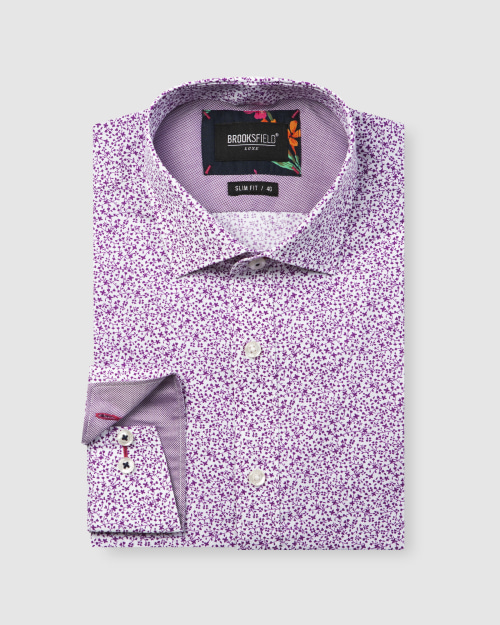 Brooksfield Luxe Vine Leaf Print Slub Business Shirt BFC1606 colour: FUSCHIA
