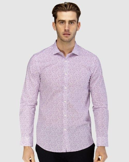 Enlarge  BROOKSFIELD Mens Luxe Vine Leaf Print Slub Business Shirt BFC1606 FUSCHIA
